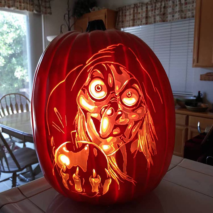 cool pumpkin carving snow white evil queen as hag