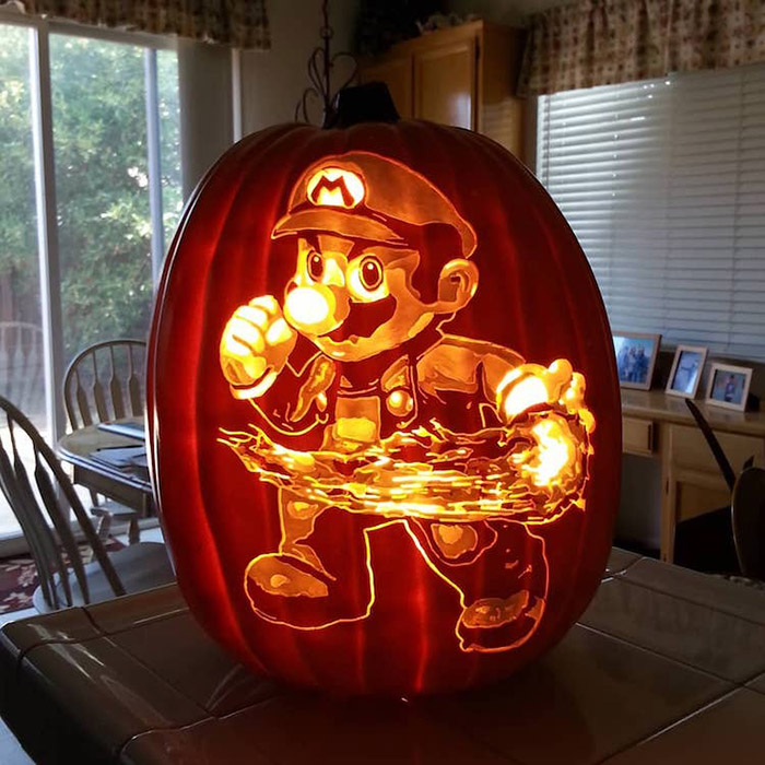 cool pumpkin carving super mario