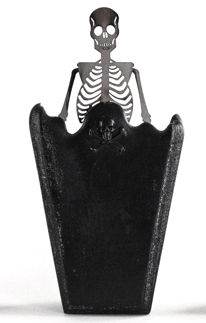 creepycandles coffin candle metal skeleton
