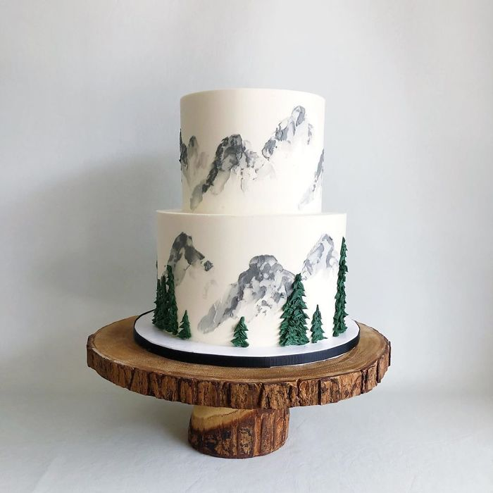 darci amazing cakes snowy green pines