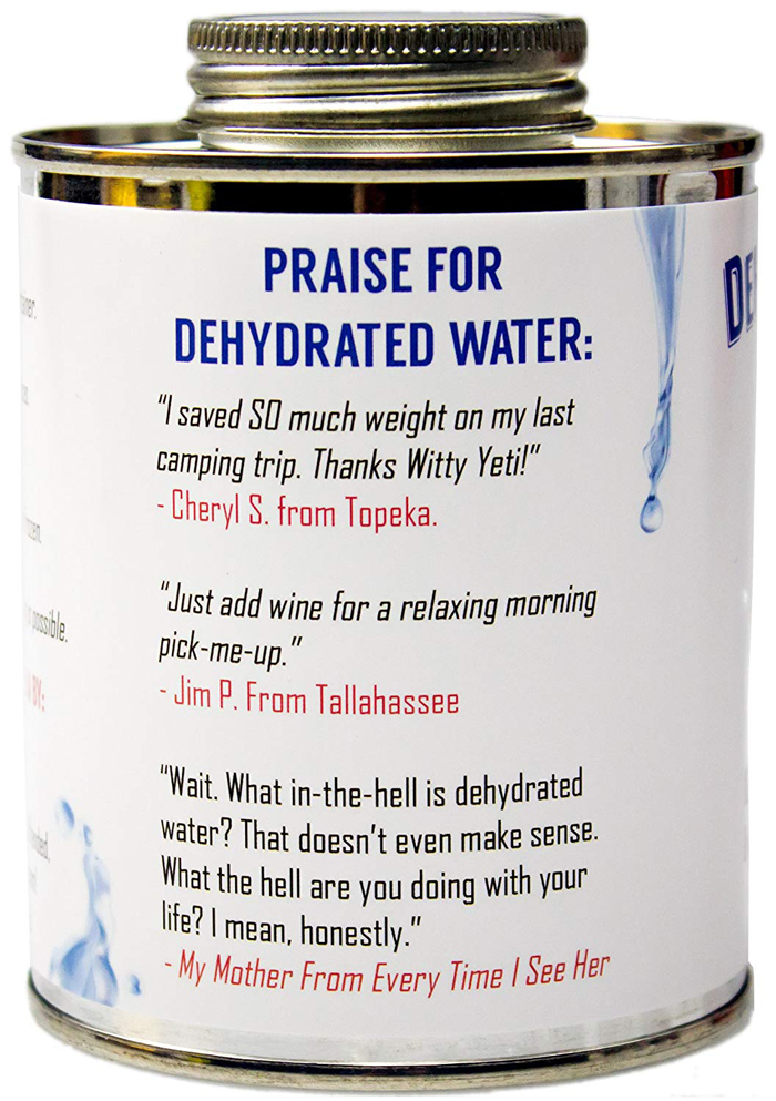 dehydrated water in a can label testimonials