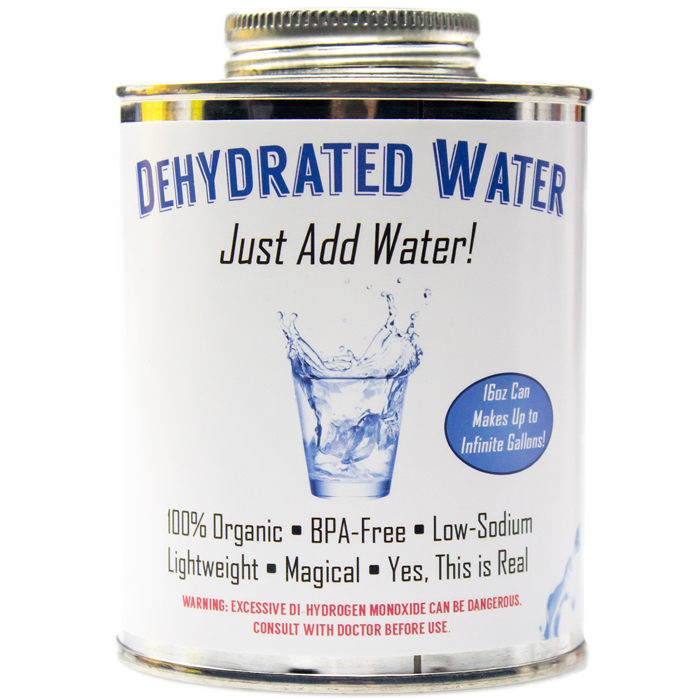 dehydrated water in a can