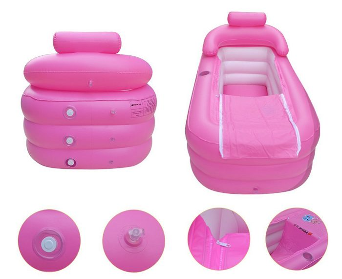 eosaga inflatable spa bath tub pink features
