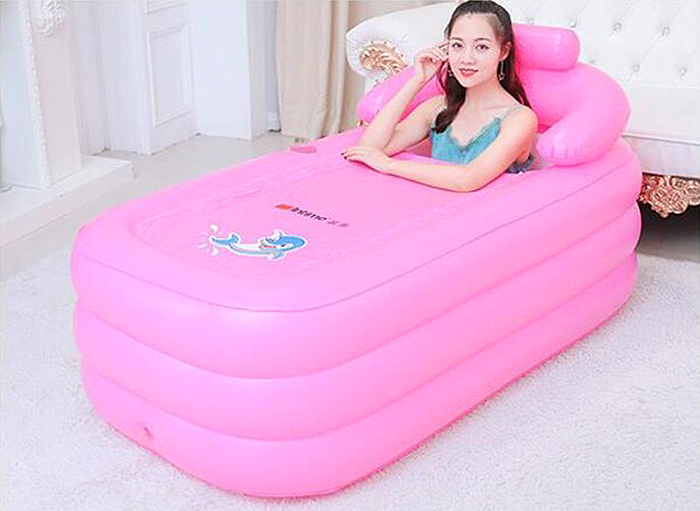 eosaga inflatable spa bath tub pink indoor outdoor