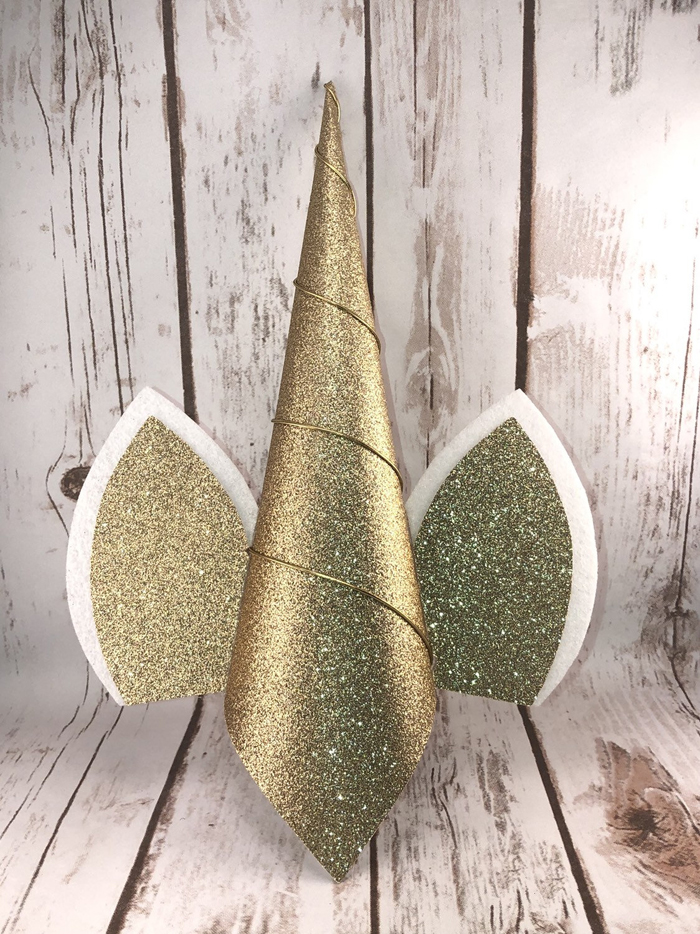 etsy unicorn christmas tree horn topper gold without flowers