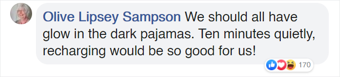 facebook comment about glow-in-the-dark PJs we should all have 4