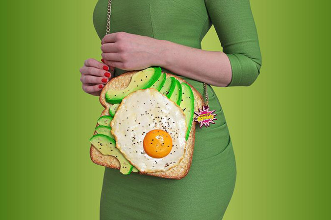 food-shaped purses avocado toast purse