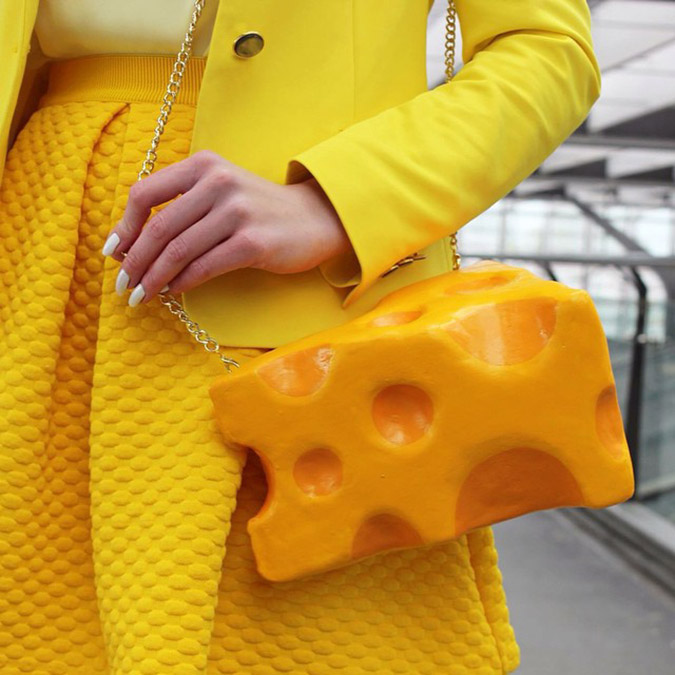 food-shaped purses close up detail of cheese purse