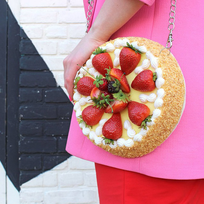 food-shaped purses strawberry shortcake close up