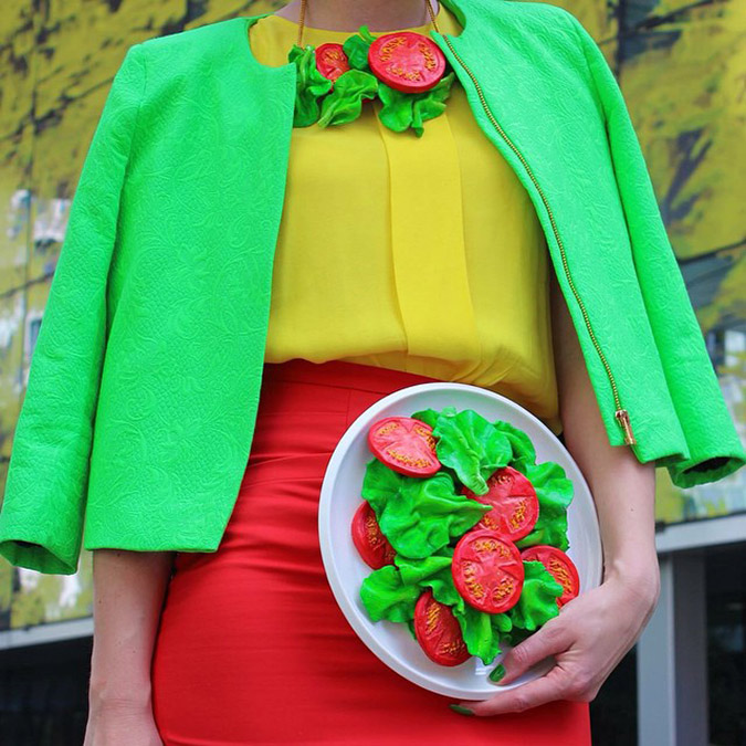 food-shaped purses vegetable salad