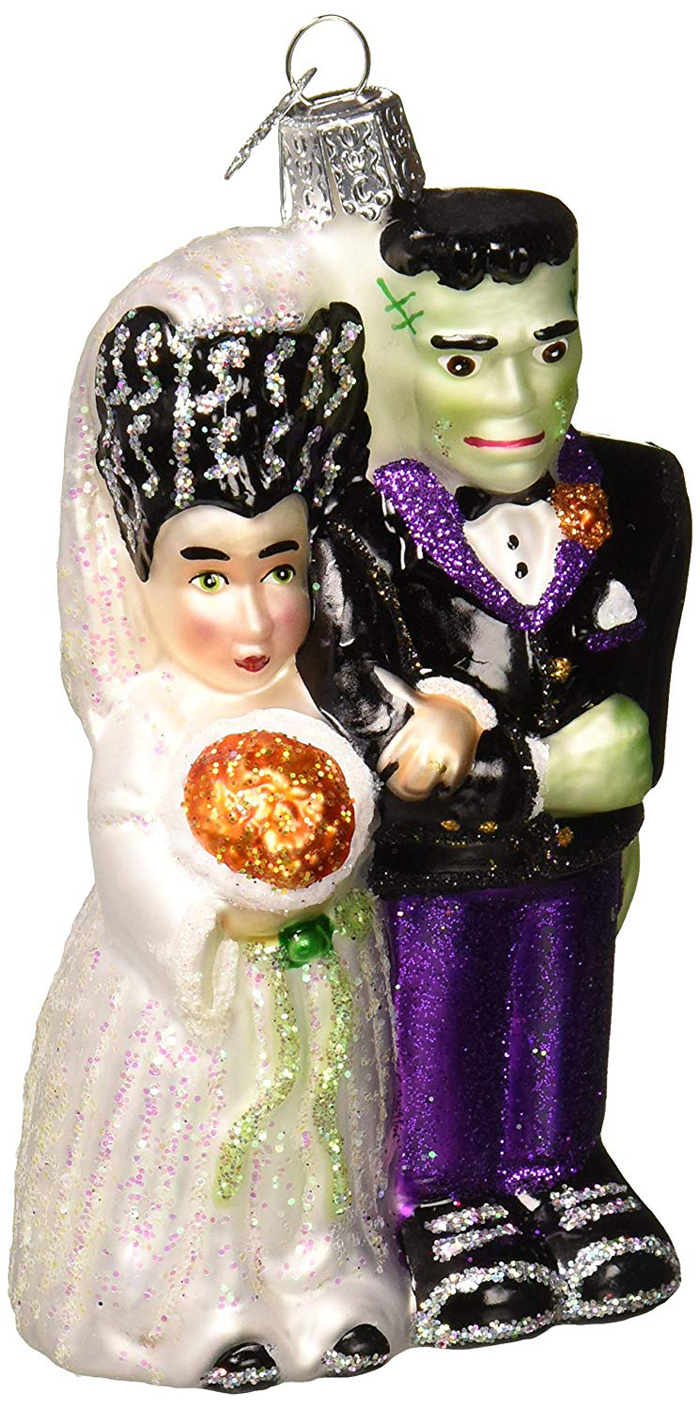 frankenstein and bride ornament for halloween trees