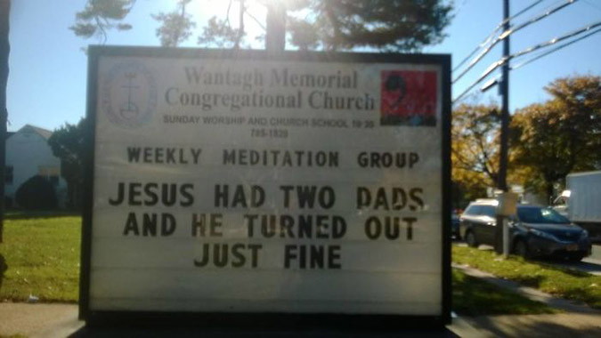 funny church signs jesus had two dads