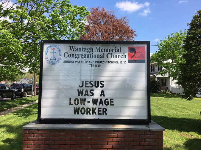 funny church signs jesus was a low-wage worker