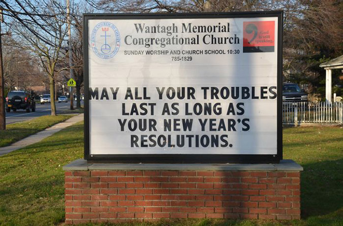funny church signs new years resolutions