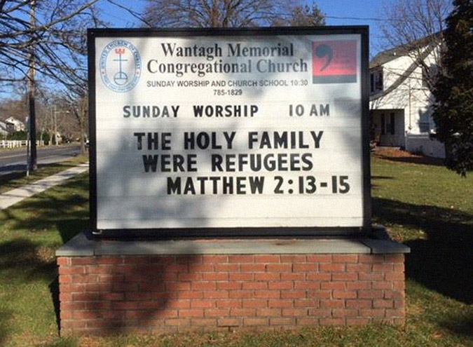 funny church signs refugees