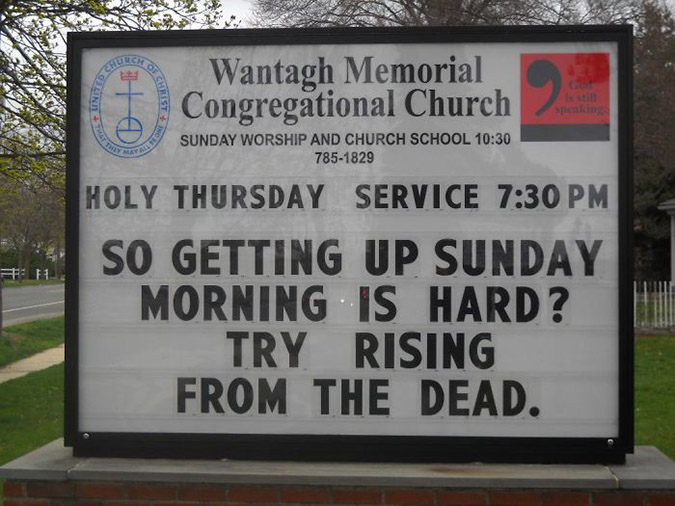 funny church signs try rising from the dead