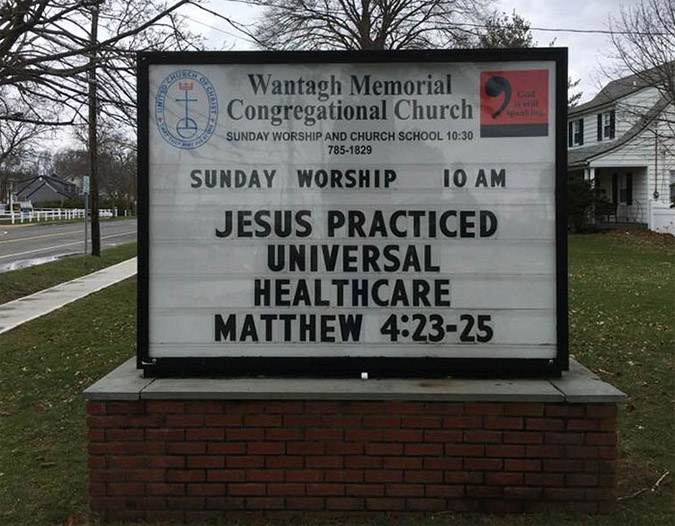 funny church signs universal healthcare