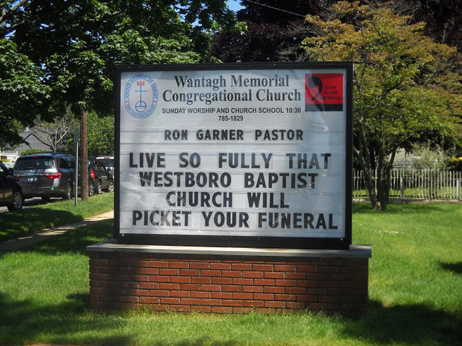 funny church signs westboro jibe