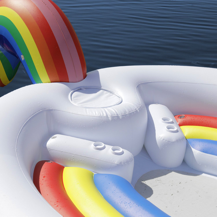 giant inflatable unicorn large seats cup holders