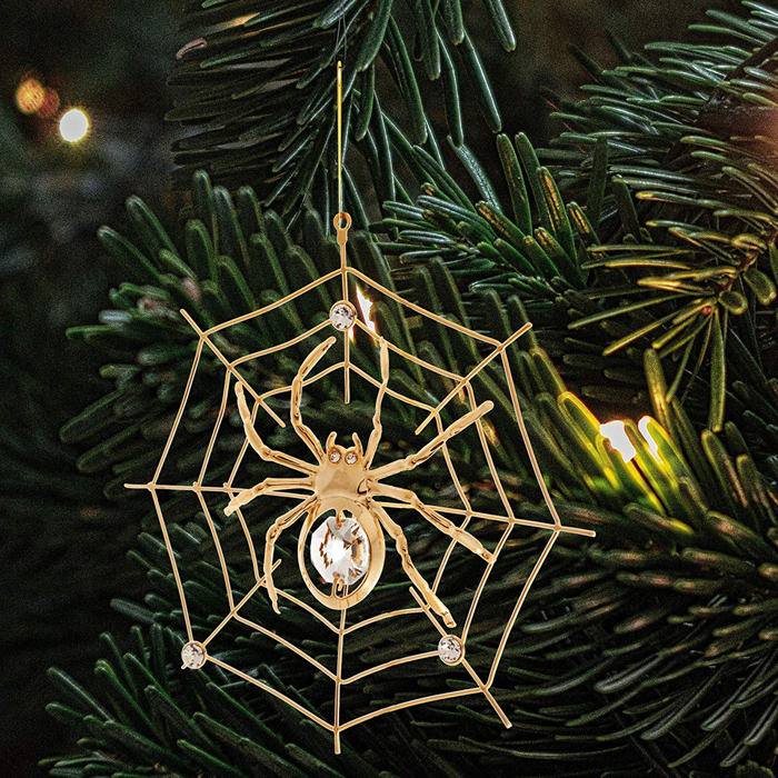 gold-plated spider on web for halloween trees