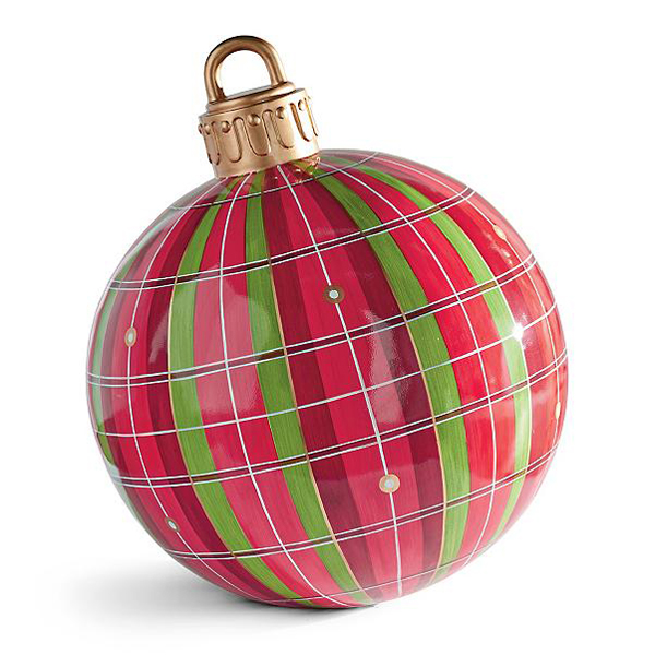 grandin road large oversized outdoor christmas ornaments red green plaid