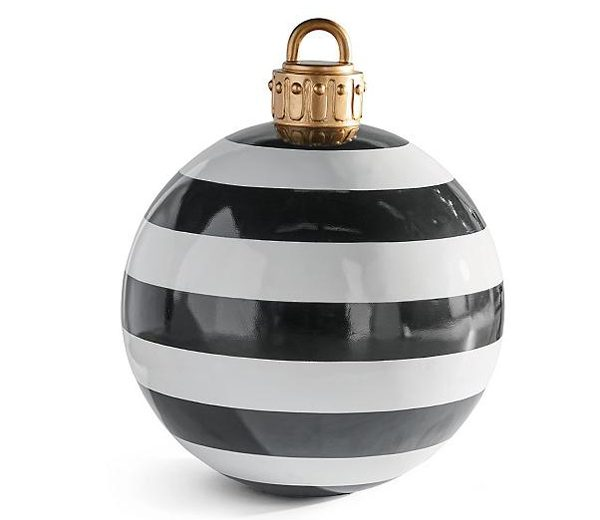 grandin road medium oversized outdoor christmas ornaments black white stripes