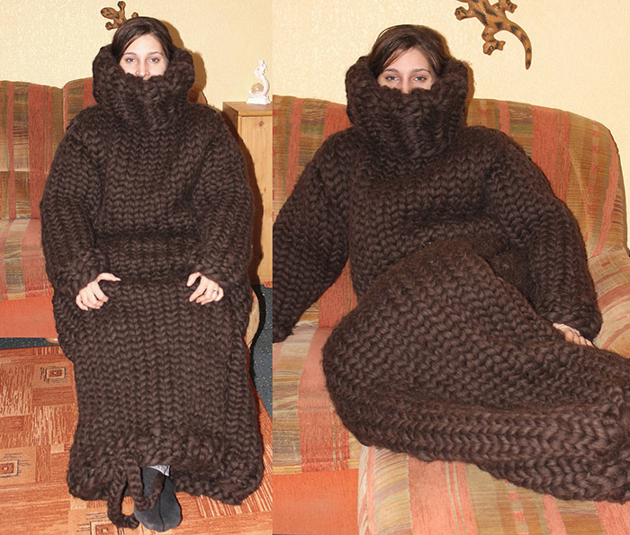half obscured face knitted adult onesie brown