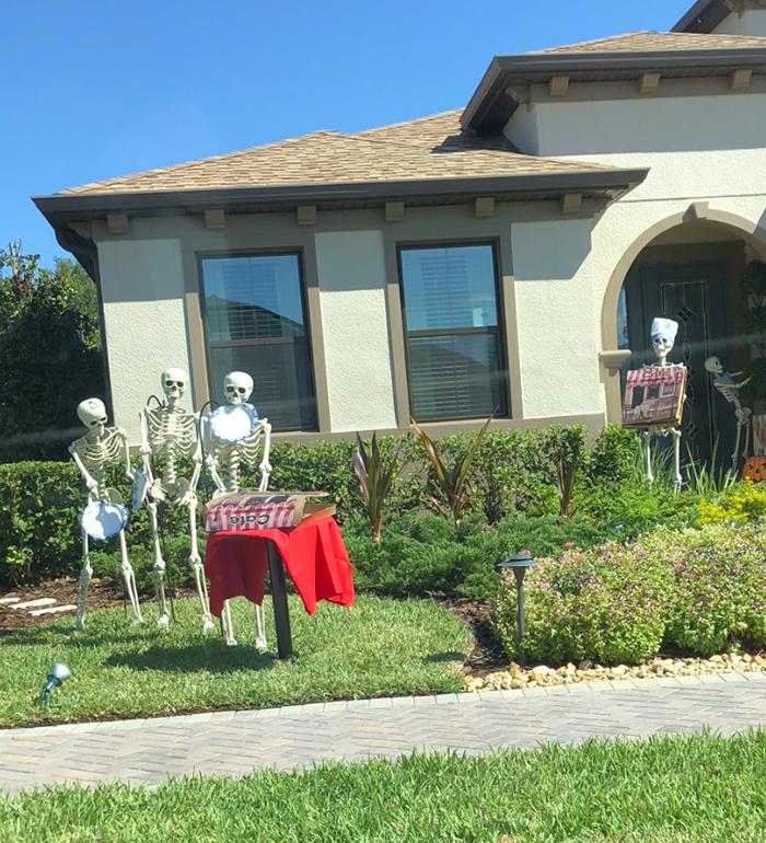 halloween skeletons cafe
