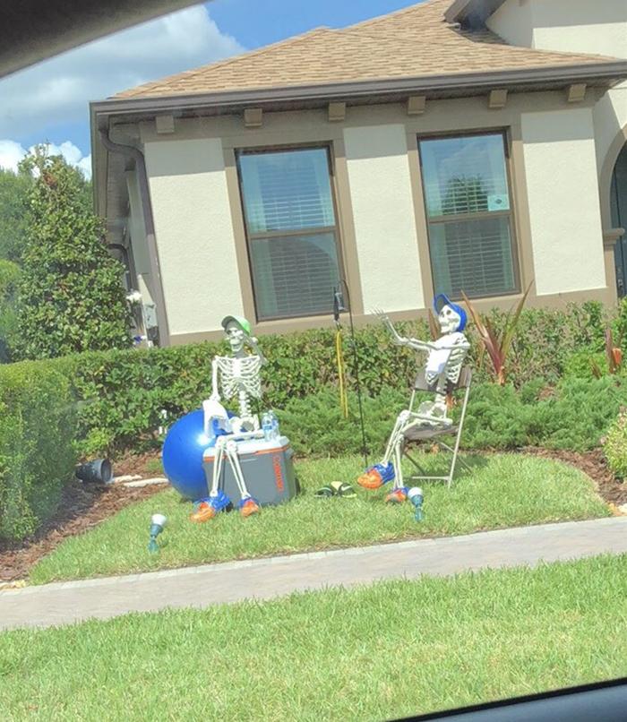halloween skeletons taking a break