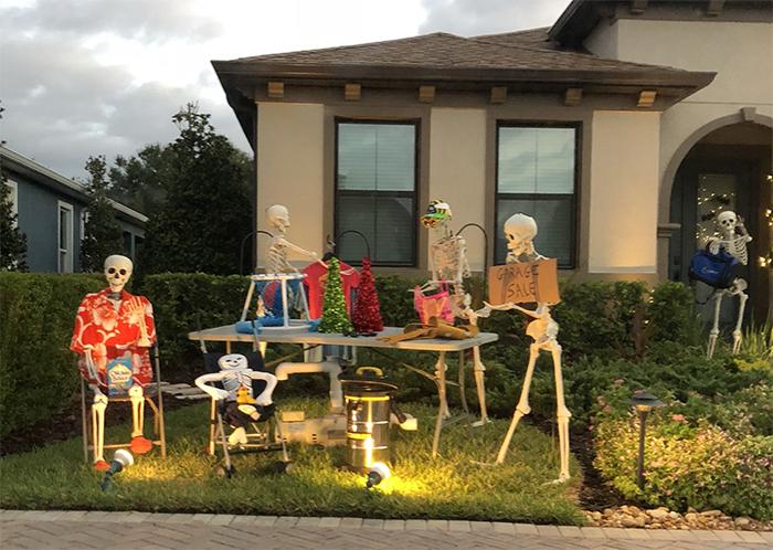 halloween skeletons garage sale