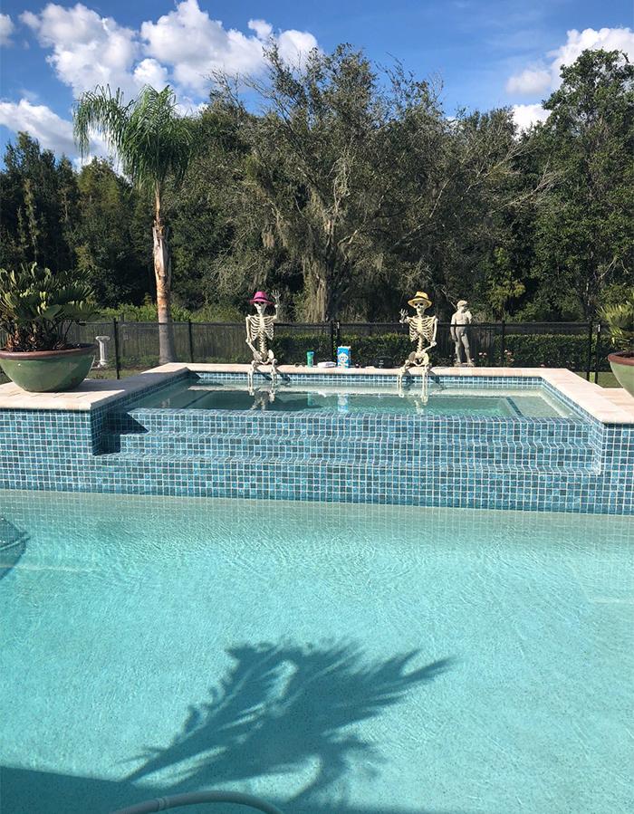 halloween skeletons in the real pool
