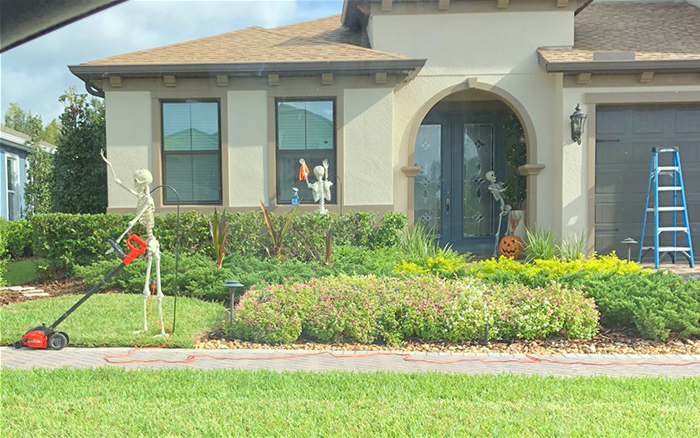 halloween skeletons mowing the lawn