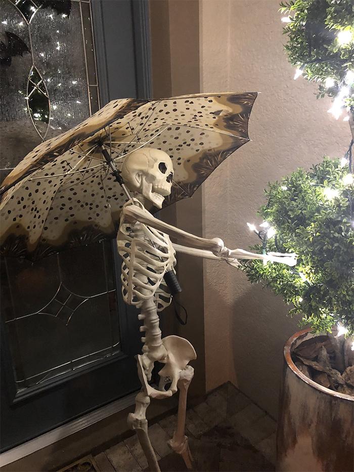 halloween skeletons setting up christmas lights