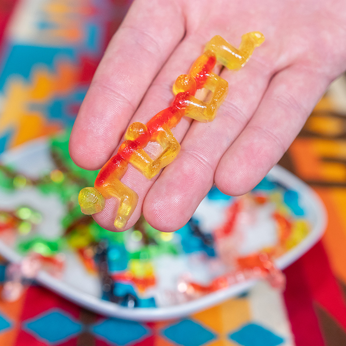 halloween treats gummy human centipede