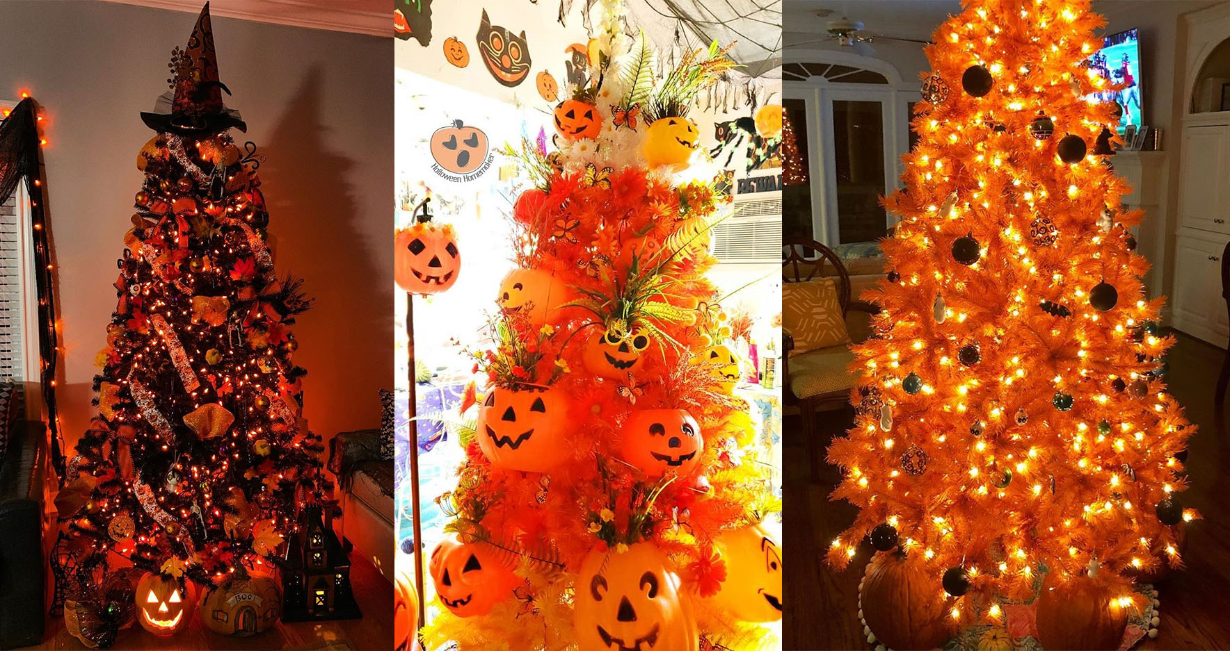 People Are Putting Their Christmas Trees Up Now But Decorating Them For Halloween