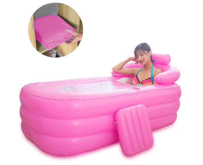 inflatable spa bath tub pink