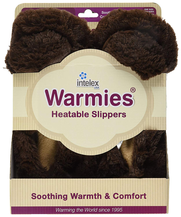 intelex warmies microwavable slippers brown