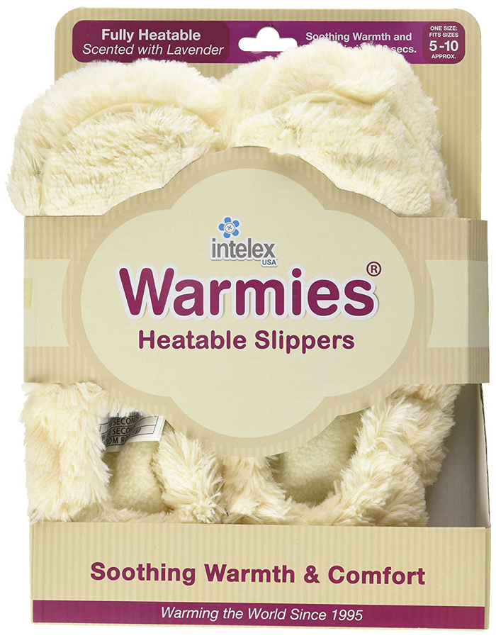 intelex warmies microwavable slippers cream