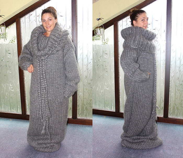 knitted adult onesie in gray