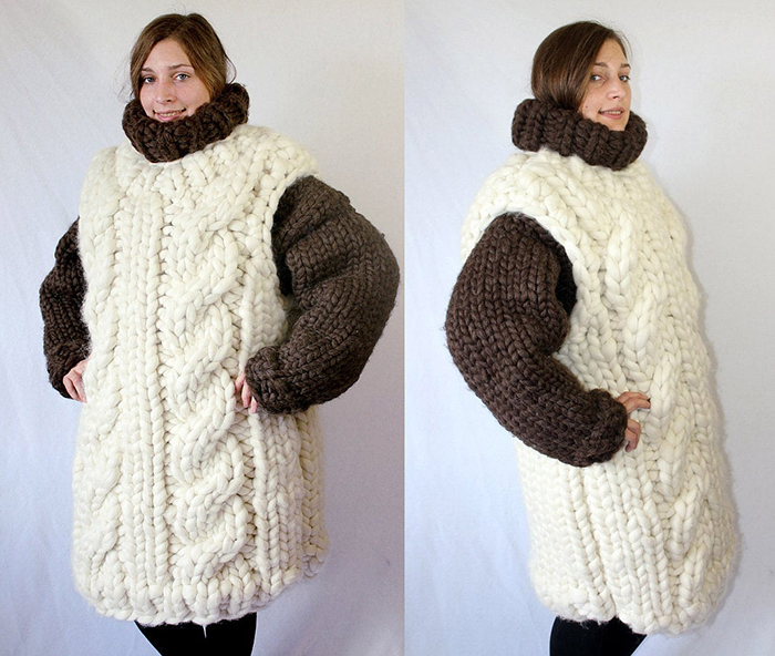 knitted adult turtleneck and vest
