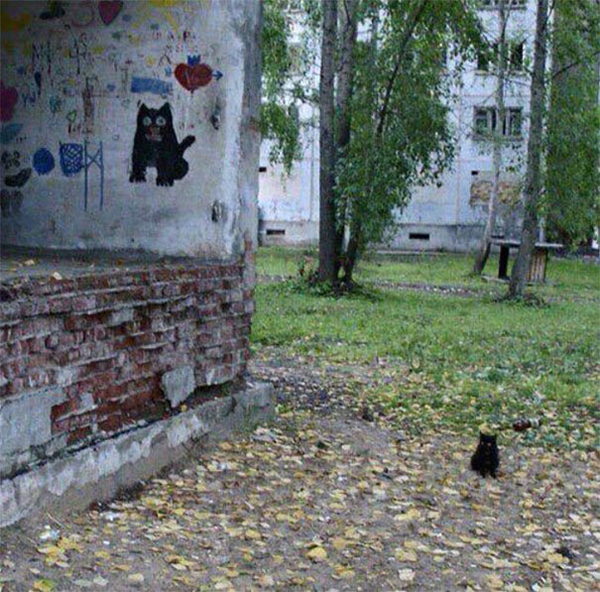 life imitated art black cat street art next to a real life black kitten