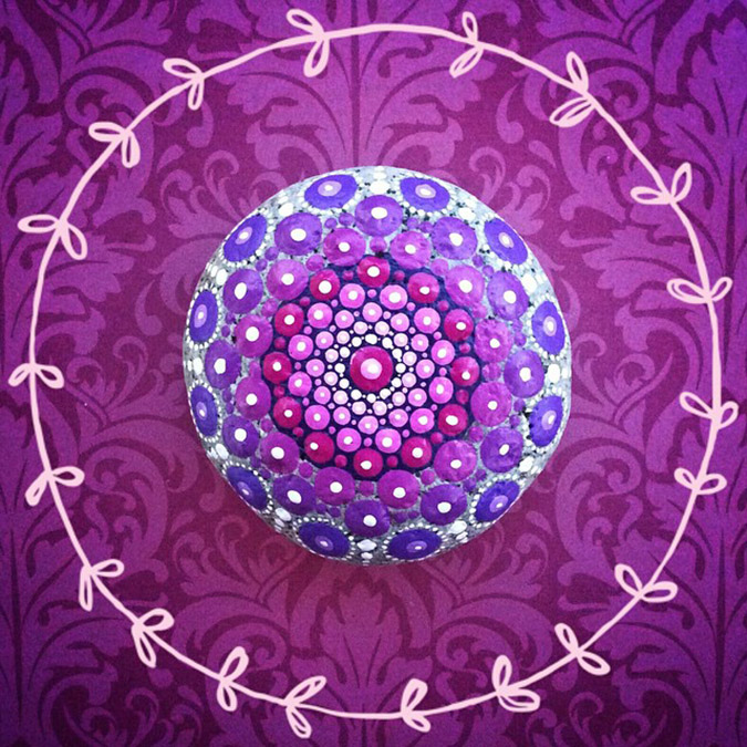light pink to purple mandala stones