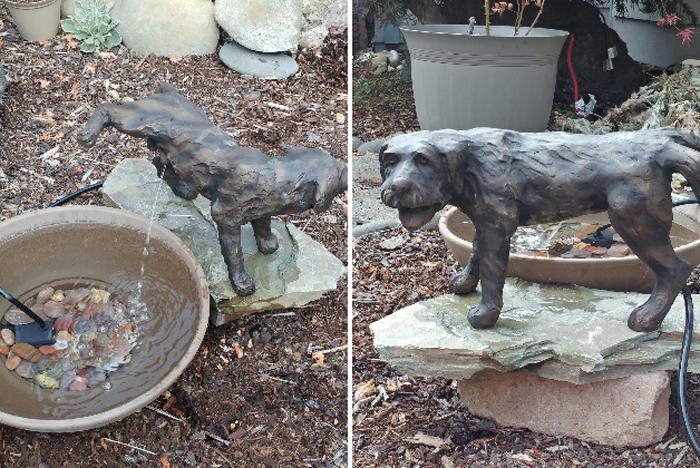 peeing dog water fountain statue customer photo