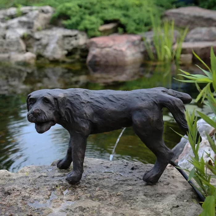 peeing dog water fountain statue resin