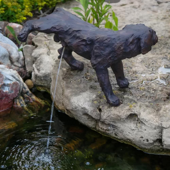 peeing dog water fountain statue