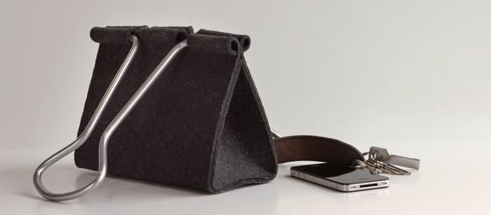 peter bristol office binder clip bag wool felt fabric