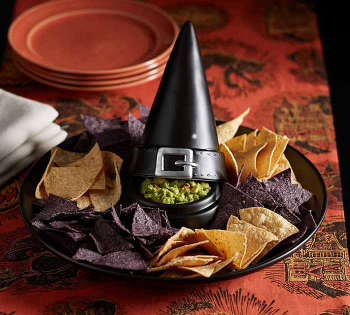 potterby barn witch hat chip and dip serving tray