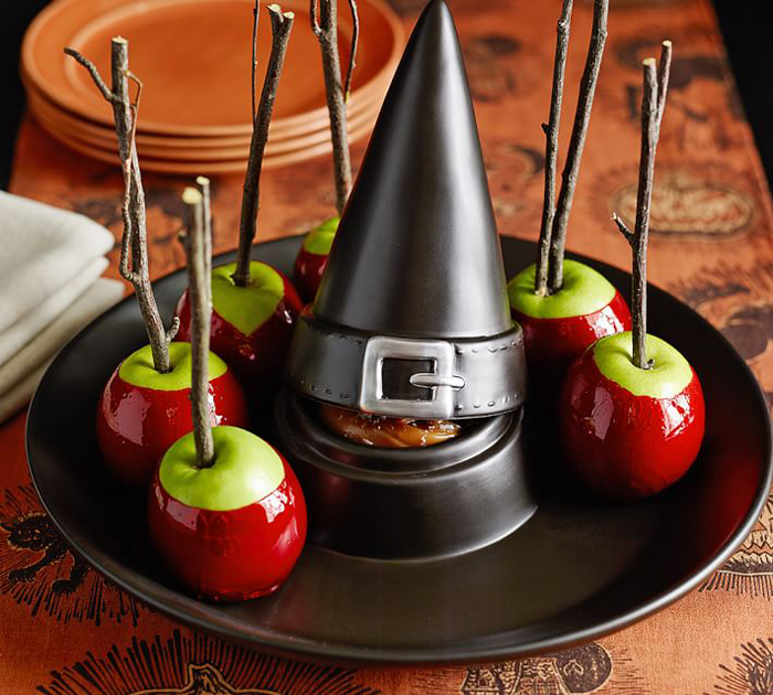 potterby barn witch hat halloween chip and dip serving tray