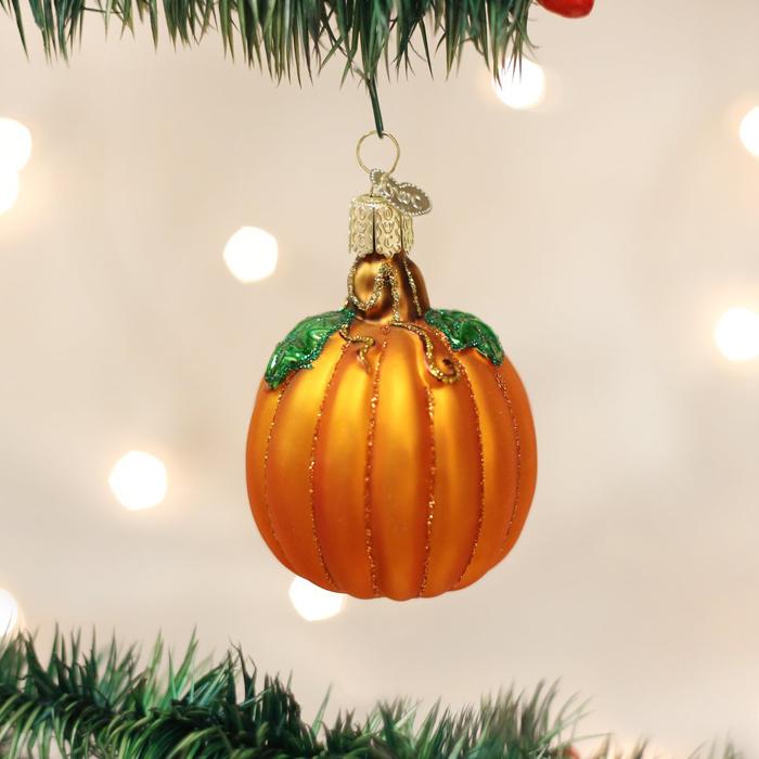 pumpkin glass blown ornament for halloween trees