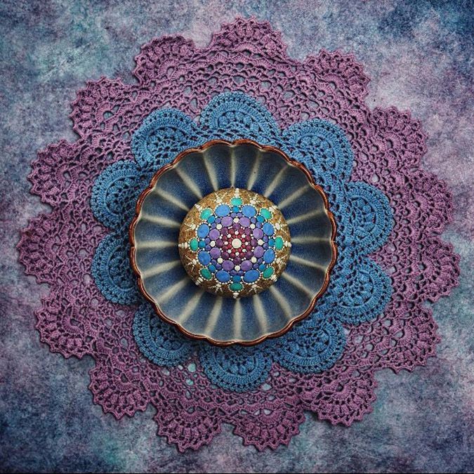 purple and blue mandala stones